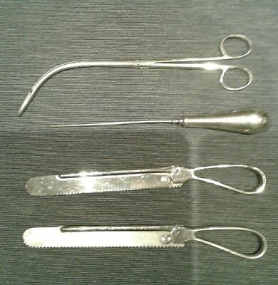 antique surgical instruments/ tools includes Allen and Hanburys saw