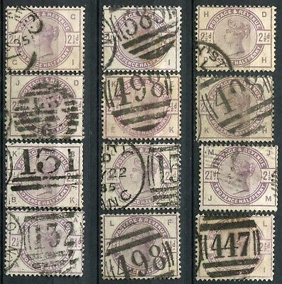 (143) 12 VERY GOOD USED SG190 QV 2&1/2d LILAC FOR SHEET RECONSTRUCTION