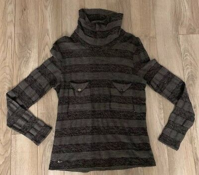 🐊 Lacoste Black Womens Turtleneck Sweater Size 42 Made In France NICE Silver 🐊