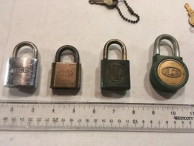 4 – Vintage Old Antique ILCO Padlock, 2 locks have keys, other 2 locks NO KEYS