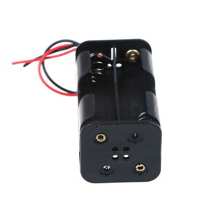 2 pcs black plastic battery holder case with wired for 4 x AA batteries P0CA
