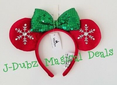 NWT Authentic Disney Parks Minnie Mouse Christmas Holiday Snowflake Sequin Ears
