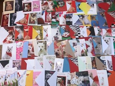 Mixed Lot of 150 Greeting Cards w/ White Dogs Terrier Unused Holidays