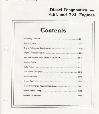 1998 Ford 6.6 & 7.8 Diesel Engine Factory Diagnosis and Troubleshooting Charts