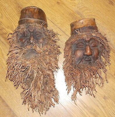 Two Vintage Hand Carved Bamboo Root Bearded Man Face Wood Wall Hanging Mask