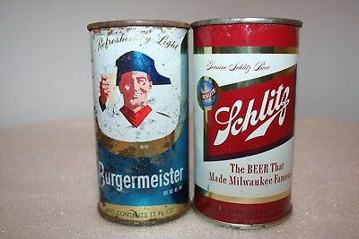 Burgermeister 11 oz. & Schlitz Beer 12 oz flat tops from California