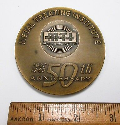 Vintage MTI Metal Treating Institute 1933-1983 50th Anniversary Bronze Medal