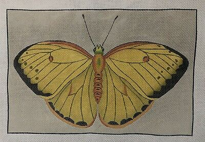 Hand Painted Needlepoint Canvas Butterfly Yellow  6 X 9 Inches W/Threads