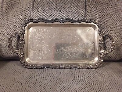 """Vintage 1883 F.B. Rogers Co. Silver Plate Serving Tray Platter #6083 9.5"""" x 6"""""""