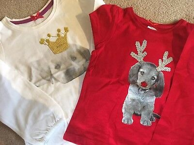 Mothercare Girls Christmas Tops- Age 12-18 Months in Excellent Condition X 2