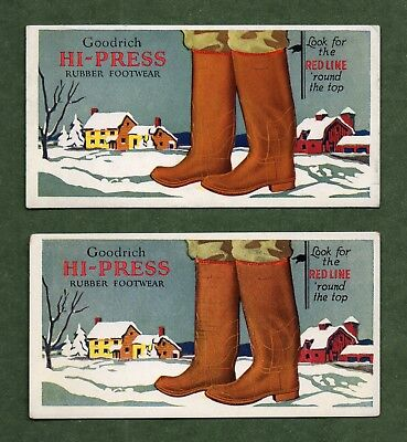 "2 GOODRICH HI-PRESS RUBBER FOOTWEAR Ink Blotters - 3""x5⅞""; Farm Scene, Exc Cond"