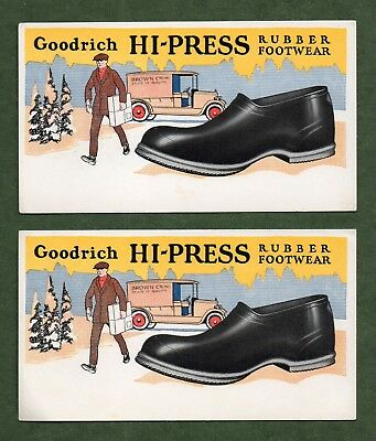 "2 GOODRICH HI-PRESS RUBBER FOOTWEAR Ink Blotters - 3½""x6¼""; Deliveryman, Exc"