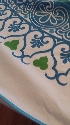 "Vintage 70s Tablecloth, 66"" Round. Vibrant Blue and Green print on White"
