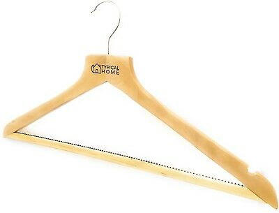 Wooden Hangers Pack of 16 Coat Hangers Clothes Natural Finish by Typical Home