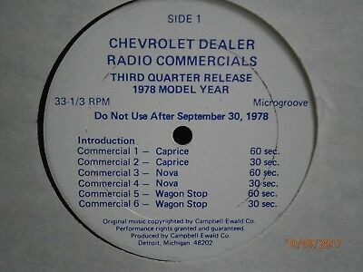 Chevrolet Radio Commercials Record From 1978!