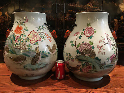 A Pair Large and Heavy Chinese 20th C Famille Rose Zun Vases, Marked.