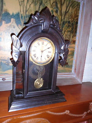 Antique Mirror Both Side,s Gingerbread  Clock .