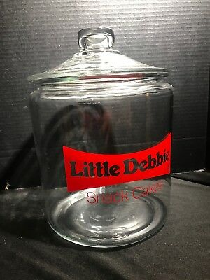 Vintage Little Debbie Snack Cakes Glass Cookie Jar Counter Store Display