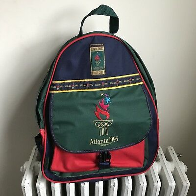 Vintage Olympics Atlanta 1996 Backpack Colorblock Primary Colors Pockets New