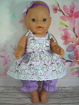 """Dolls clothes for 17"""" Baby Born doll~LILAC~UNICORN STRAP DRESS~BLOOMERS~HAIR BOW"""