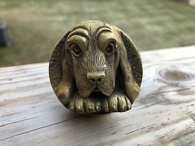 Vtg Art Deco Nouveau Dog Basset Hound Bloodhound Door Knob Doorknob Brass