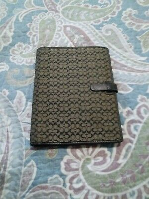 Coach Black Signature Leather Trim Canvas Planner Agenda Address Book Cover