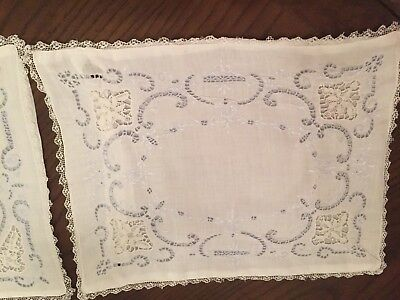 Vtg. NEEDLE LACE and EMBROIDERED BOUDOIR PILLOWS  -  LOVELY!