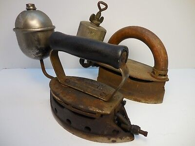 2 Antique / Vintage Gas Sad Irons , Imperial - Coleman , Old Iron