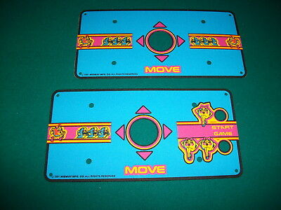 MIDWAY MS PACMAN Cocktail Table Cabaret Control Panel Overlay Decals set of two