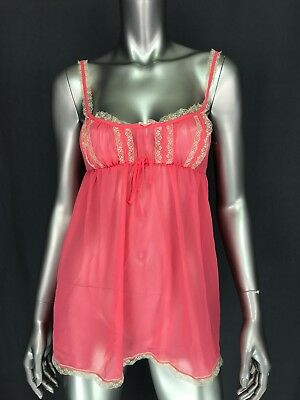 Victorias Secret Womens Babydoll Camisole Top Size Small Pink Lace Trim Sheer