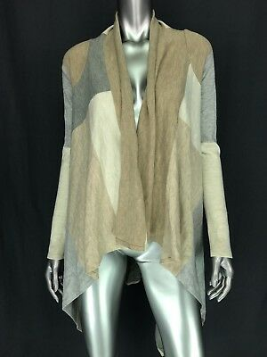 Luxe Essentials Denim Womens Open Front Cardigan Small Color Block Waterfall