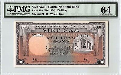 South Vietnam ND (1966) P-18a PMG Choice UNC 64 100 Dong