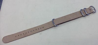 New MILITARY Smooth Genuine Leather Light Tan Band 17mm Wide