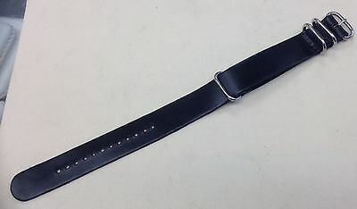 New MILITARY Genuine Smooth Leather Black Band 22mm Wide