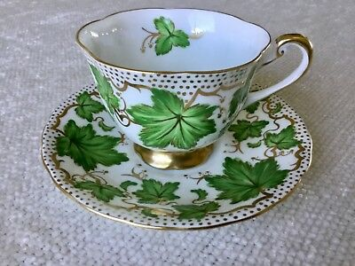 Royal Chelsea 1940's Green Ivy Tea Cup and Saucer 426A Gold Trim