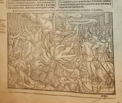 1570-Foxe's Book of Martyrs-Burning of Master John Rogers-1555-Large Engraving