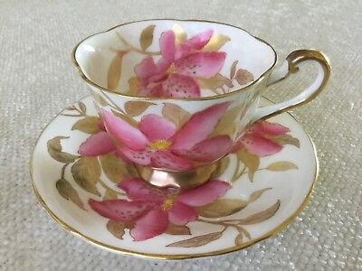 Royal Chelsea 1950's Pink Lilies Tea Cup and Saucer 501A Gold Trim ~ Stunning!
