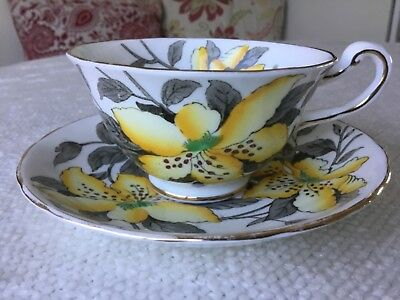 Royal Chelsea 1950's Yellow Tiger Lily Tea Cup and Saucer Gold Trim