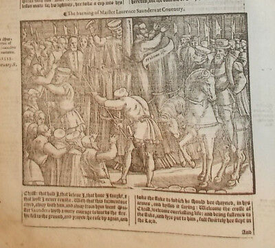 1570-Foxe's Book of Martyrs-Burning of Mr. Laurence Sanders-1555-Large Engraving
