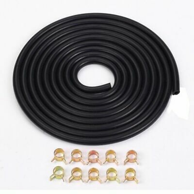 """10mm 3/8"""" Silicone Vacuum Hose 3 Meter 10ft Black With Spring Band Clip X10"""