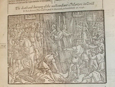 1570-Foxe's Book of Martyrs-Death and Burning of Barnes, Garret, Hierome-1541