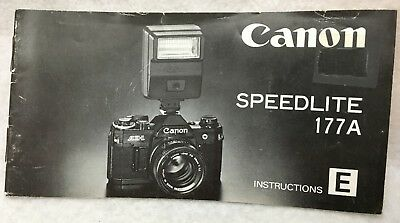 Vintage OEM Genuine Canon Speedlite 177A Instruction Manual Guide Book English