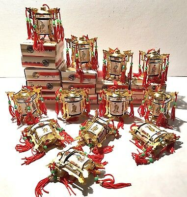 12 Vintage CHINESE PALACE LANTERNS  Metal and Fabric Black Trim with RED Tassels