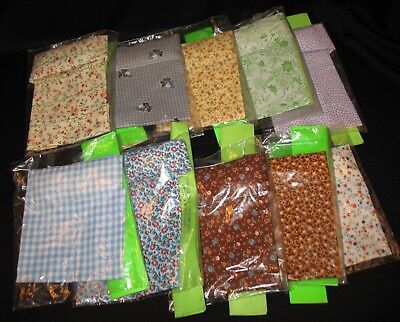 Vintage Lot Of 10 Dollhouse Miniature Fabric Bedding With Built in Pillow