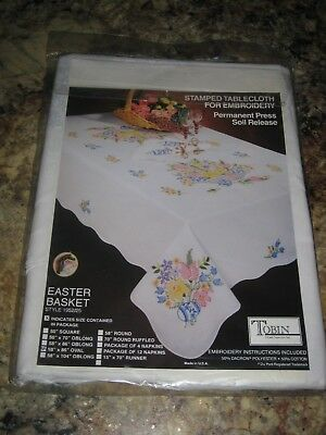 """Tobin Stamped Cross Stitch Embroidery Tablecloth EASTER EGG BASKET 58""""x86"""" OVAL"""