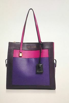 c3bb1668e316 NWT MARC JACOBS The Grind Colorblock Leather Tote  Grape Multi ...