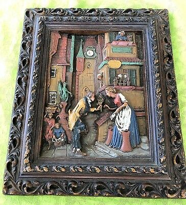Vintage 3D Relief Wax Carved Painting and Frame German Folk Art