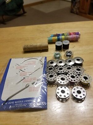 Lot of Antique Vintage SEWING ITEMS Notions, metal bobbins,7 s.mach.needles +++