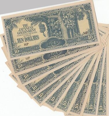 Malaya 10 Dollars Cu Japanese Occupation, 1944