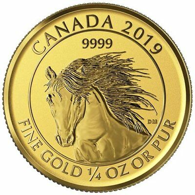 2019 Canadian Animal Portrait Series Wild Horse (Mustang) 1/4 oz Gold RP Coin